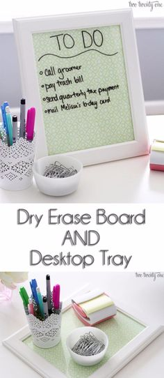 DIY Home Office Decor Ideas - Dry Erase Board And Desktop Tray - Do It Yourself Desks, Tables, Wall Art, Chairs, Rugs, Seating and Desk Accessories for Your Home Office http://diyjoy.com/diy-home-office-decor