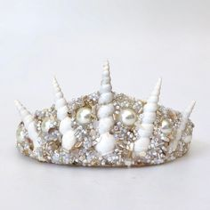Natural Shell Crown Half Shell Style with Real Green /& Grey Pearls and Beads Merfolk Mermaid Tiara