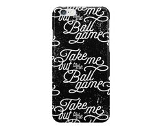 Repeating typographic pattern with the text Take Me Out to the Ballgame on a black grungy background. Perfect for the baseball fan in your life! Also perfect as a gift to yourself in anticipation of going out to the ball game for Spring Training or the regular season. AVAILABLE DEVICE SIZES: iPhone 7 Plus (tough option only) iPhone 7 iPhone 6S Plus iPhone 6S iPhone 6 Plus iPhone 6 iPhone 5/5S iPhone 5C iPhone 4/4S Samsung Galaxy 7 Edge (tough option only) Samsung Galaxy 7 (tough option…
