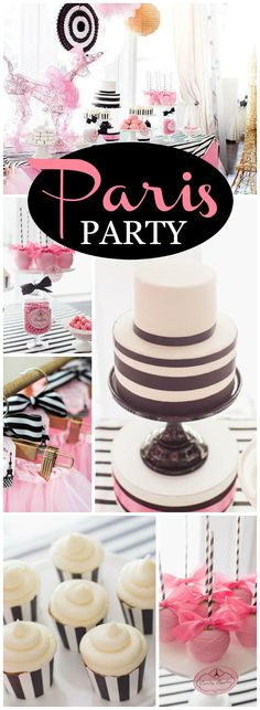 You have to see this pink and black Paris birthday party! See more party ideas at CatchMyParty.com!