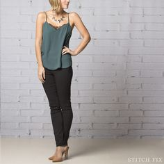 Stitch fix stylist - these pants! And camisole! The Dinner Emer--yes! These pants are wonderful! Also love the shirt (gorgeous style, loose but not baggy, beautiful material and color, sexy but classy)! Night Outfits, Classy Outfits, Cool Outfits, Fashion Outfits, Runway Fashion, Casual Outfits, Women's Fashion, Fashion Trends, Preppy Mode