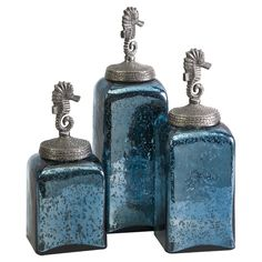 3 Piece Relyea Canister Set Cute for the girl's bathroom? Sea colors and a seahorse theme.