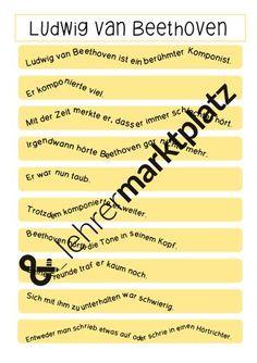 Ludwig van Beethoven (Hörbeeinträchtigung) – Unterrichtsmaterial in den Fächern Deutsch & Musik Ludwig, Author, Play Based Learning, Teaching Resources, Primary School