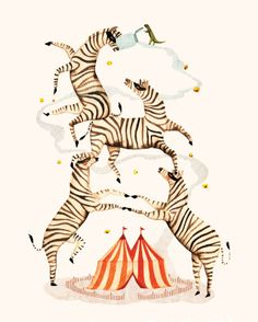 """""""Zebra Bandits"""" by Andrea Wan. Available print at The Working Proof. Circus Illustration, Botanical Illustration, Graphic Design Illustration, Horse Posters, Circus Art, Black And White Abstract, Squirrel, Drawings, Animals"""