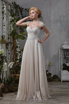 Wedding Dress Empire Dress Capuccino Lace Gathering Beadwork