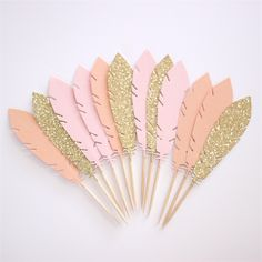 12 Feather Cupcake Toppers / Cake Picks Pink, Peach and Gold Glitter