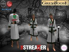 (WEAR ME) The Streaker Mens Robe (Kiss Me Green Checkard) secondlife, sl, avatar, men, robes,robe