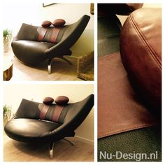 """Leolux Danaïde sofa after restauration. """"..Leolux presented its first electrically adjustable piece of furniture, designed by Stefan Heiliger. Danaïde was a reclining island from which a part beneath the seat could be folded out in order to turn it into a """"normal"""" sofa..."""" #upholstery #upholstered #leather #leolux #design #island #danaïde #sofa #nudesign"""