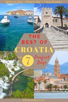 Croatia is one of Europe's most beautiful destinations and the ideal place for an epic honeymoon journey. From the walled Old Town of Dubrovnik to the beauty of the islands along the Dalmatian coast, here's the perfect 7-day itinerary. Including some of Croatia's top seaside towns like Rovinj and Split as well as the waterfalls of Plitvice National Park and the beaches of Korcula. Plus everything you need to know about driving in Croatia and how to beat the crowds. #travel #croatia… Best Of Croatia, Top Honeymoon Destinations, Plitvice National Park, Romantic Honeymoon, European Destination, Seaside Towns, Beaches In The World, Dubrovnik, Beach Travel