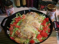 Mexican Villa Sanchos Enchilada-style: 1lb of seasoned, cooked ground beef, 1lb of grated white american cheese, shredded lettuce, burrito-sized tortillas, 1 large can of red enchilada sauce.  Roll up the tortillas with some beef, cheese and lettuce, then top with enchilada sauce, and more cheese, then into a 350 degree oven until the cheese is nice and bubbly. I have Mexican Villa sauces, but any salsa would be a good accompaniment. I also add some shredded lettuce and chopped tomato to…