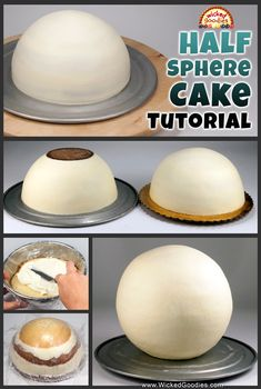 How to Make a Half Sphere Cake Tutorial with step-by-step instructions on how to bake, fill, frost and decorate hemisphere and full sphere globe or ball-shaped cakes Creative Cake Decorating, Creative Cakes, Bolo Fondant, Fondant Cakes, Globe Cake, Soccer Ball Cake, Basketball Cupcakes, Cake Shapes, Diy Cake