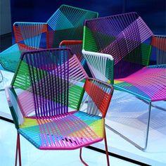 colorful geometric chairs