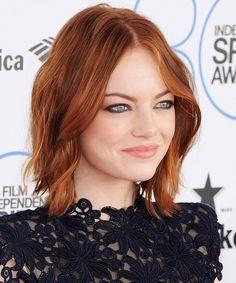 Emma Stone's tousled ronze hair