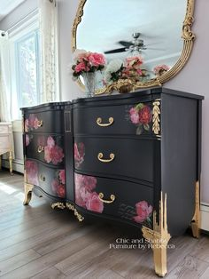 Romantic Vintage Dresser Makeover I went with a romantic look for this dresser. Hope you like her new dress ❤ I used (Black) Caviar, gold leafing. new Royal Burgundy transfer and molds to make the appliques. Funky Furniture, Refurbished Furniture, Paint Furniture, Repurposed Furniture, Furniture Projects, Furniture Makeover, Dresser Furniture, Diy Dresser Makeover, Dresser Makeovers