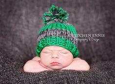 Knit Striped Baby Boy Hat Green GrayNewborn  by OopsIKnitItAgain, $23.00