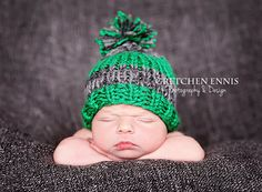 Knit Striped Baby Boy Hat Green GrayNewborn  by OopsIKnitItAgain, $23.00