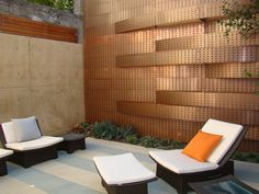 Contemporary Patio and Metal Wall Panels Exterior by Randy Thueme Design