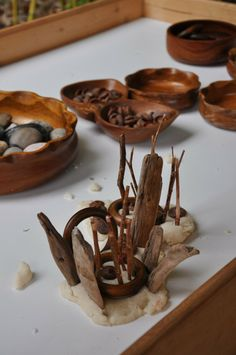 Play dough, wood & natural materials - from Stomping in the Mud