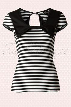 Steady Clothing - 50s Lori Ann Bow Top Black and White