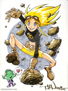 Terra, with Beast Boy. Teen Titans Go! See the speed drawing video of this piece on my YouTube Channel: Copic sketch markers and Pigma Micron markers. Learn more about COPIC markers: