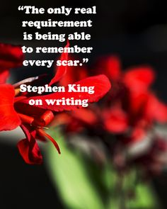 """The only real requirement is being able to remember every scar.""  Stephen King on writing -- Explore the strength and inspiration that underlies the writing process at http://www.examiner.com/article/forty-quotations-for-writing-inspiration"