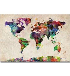 "Trademark Art ""Urban Watercolor World Map"" Canvas Art by Michael Tompsett Watercolor World Map, World Map Painting, Watercolor Rug, World Map Canvas, World Map Wall Art, Painting Art, Oil Paintings, Canvas Wall Art, Canvas Prints"