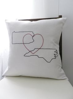 Personalized State Pillow Cover. Wedding Gift. Retirement. Vacation. Family. Travel. College. Home State. State Outline. State Heart Pillow by BlueLeafBoutique on Etsy