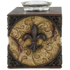 Two-Tone Brown Resin Square Fleur-de-Lis Tea Light Holder | Shop Hobby Lobby