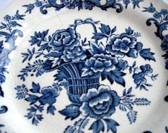 blue and white staffordshire plate | Blue and White Plates - Vintage Blue & White Ridgway Staffordshire ...