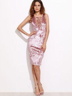 Pink Lace Up Plunge Neck Crushed Velvet Dress