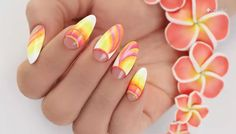 floral motif on long almond nails, blue ombre nails, pink to orange yellow and white gradient nail polish day nails acrylic french tips ▷ ideas and designs for eye-catching ombre nails