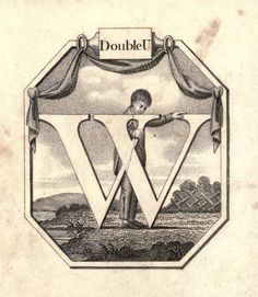 """DoubleU"" (W) ~ Vintage Children's ABC Flash Card"