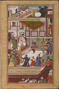 Akbarnama Dancers, captured after the defeat of Baz Bahadur, the Muslim ruler of Malwa in north central India, performing at court for Akbar. by Kesav Kalan & Dharmdas ca. 1586 - ca. 1589 V&A
