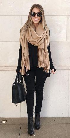 #winter #fashion /  Camel Scarf + Black Knit