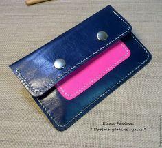 Купить кошелёк кожаный сине - розовый - тёмно-синий, однотонный, подарок, подарок девушке