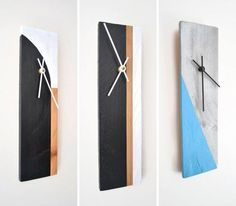 These wood clocks are made from reclaimed pieces of wood and painted geometrically to give them a new life and a modern look.