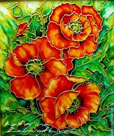 """Купить """"Маки алые..."""" - ярко-красный, маки, цветы, Витражная роспись, картина в подарок"""