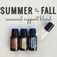 SUMMER TO FALL BLEND 3 drops Clove 2 drops White Fir 4 drops Lemon Later neat or dilute with FCO for easier application. (Top with FCO using a 5 ml glass roller bottle) Rub on the bottoms of feet to help protect against seasonal and environmental elements cleanses the body and