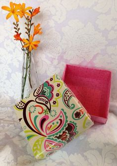 Bright paisley and flowers Gift Box, handmade large origami box on Etsy, $5.00
