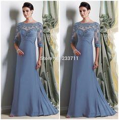 Charme A linha Chiffon mãe da noiva vestidos com meia mangas vestido longo mãe…