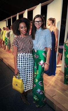 Solange Knowles attends the J.Crew SS13 Collection Presentation at Lincoln Center on Wednesday, September 12, during New York Fashion Week, posing for pics with J.Crew President Jenna Lyons. Solange is wearing a J.Crew allover sequin hounds tooth skirt.