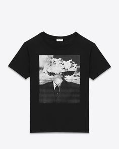 saintlaurent, T-SHIRT IN Black and White 'Bombhead' PRINTED COTTON