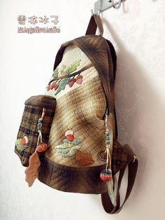 【雪冻冰子·素儿24期团作】猫头鹰双肩包 Owl Backpack, Quilt Bag, Backpacks, Quilts, Sewing, Bags, Fashion, Handbags, Moda