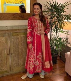 Dia Mirza in Anita Dongre Anarkali Suit Designer Suits For Wedding, Indian Designer Suits, Wedding Suits, Designer Salwar Suits, Kurta Designs, Kurti Designs Party Wear, Indian Wedding Outfits, Indian Outfits, Ethnic Outfits