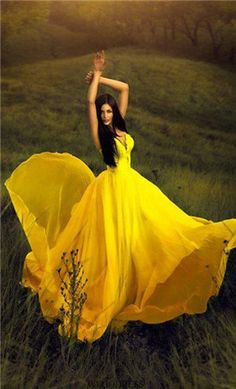 Elegant Luxurious Yellow Chiffon Sweep Brush Train A Line Prom Dress