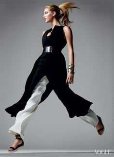 Calvin Klein Collection belted dress with knit bandeau ($3,995) and pleated trousers ($995) & Alexander Wang sandals.