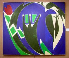 """Majuscule"" 1971 Oil on canvas 69 x 81 1/8 in. Lee Krasner"