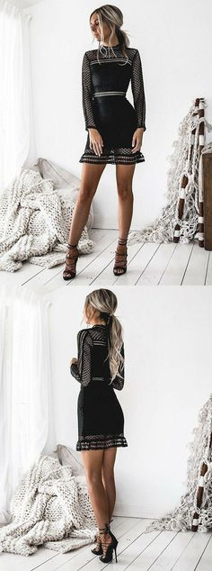 Sheath High Neck Long Sleeves Short Black Hollow Lace Homecoming Dress