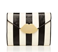 black and white clutch from Lulu Guinness