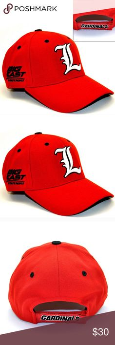 Louisville Cardinals baseball cap Product Details This Top of the World Louisville Cardinals cap is three times the awesome. Featuring team logo and converence embroidery. Product Features Precurved bill Interior sweatband Six-panel design Adjustable hook and loop strap Fabric & Care One size fits most Acrylic/wool Hand wash Accessories Hats